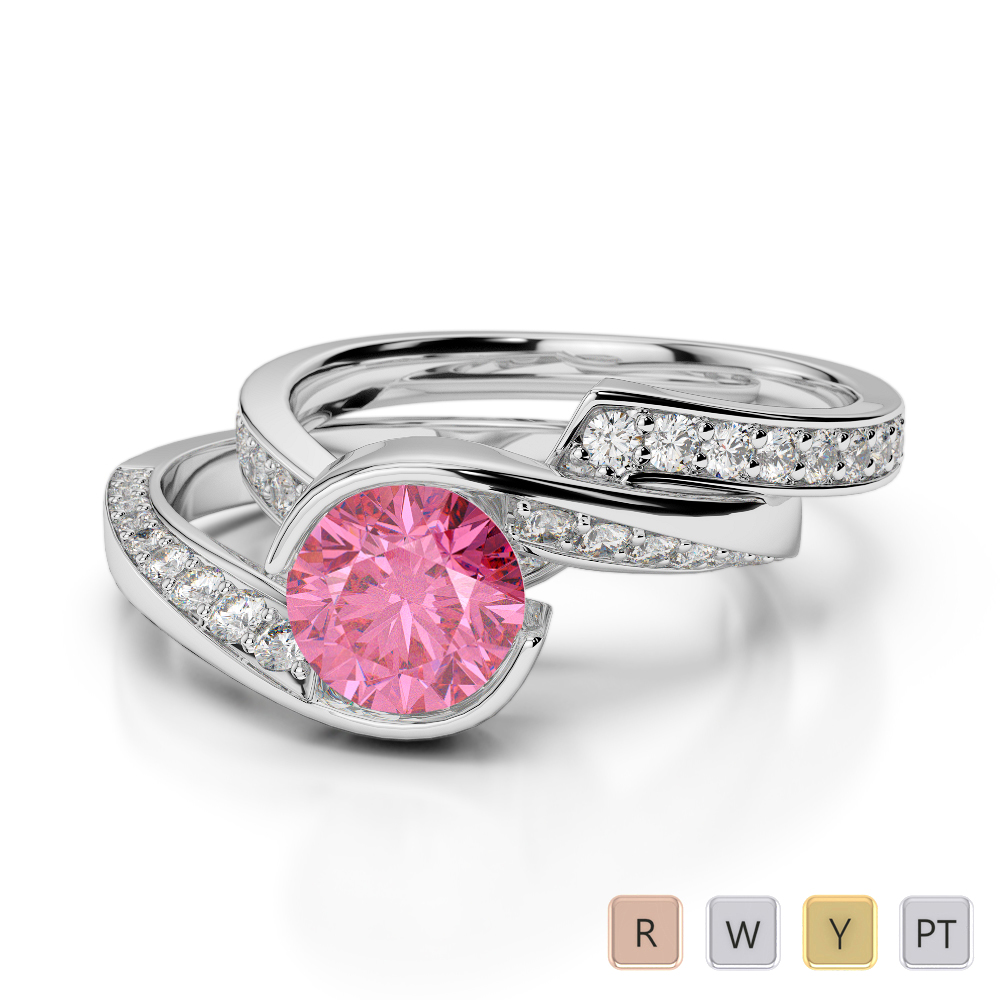 Gold / Platinum Round cut Pink Tourmaline and Diamond Bridal Set Ring AGDR-2019