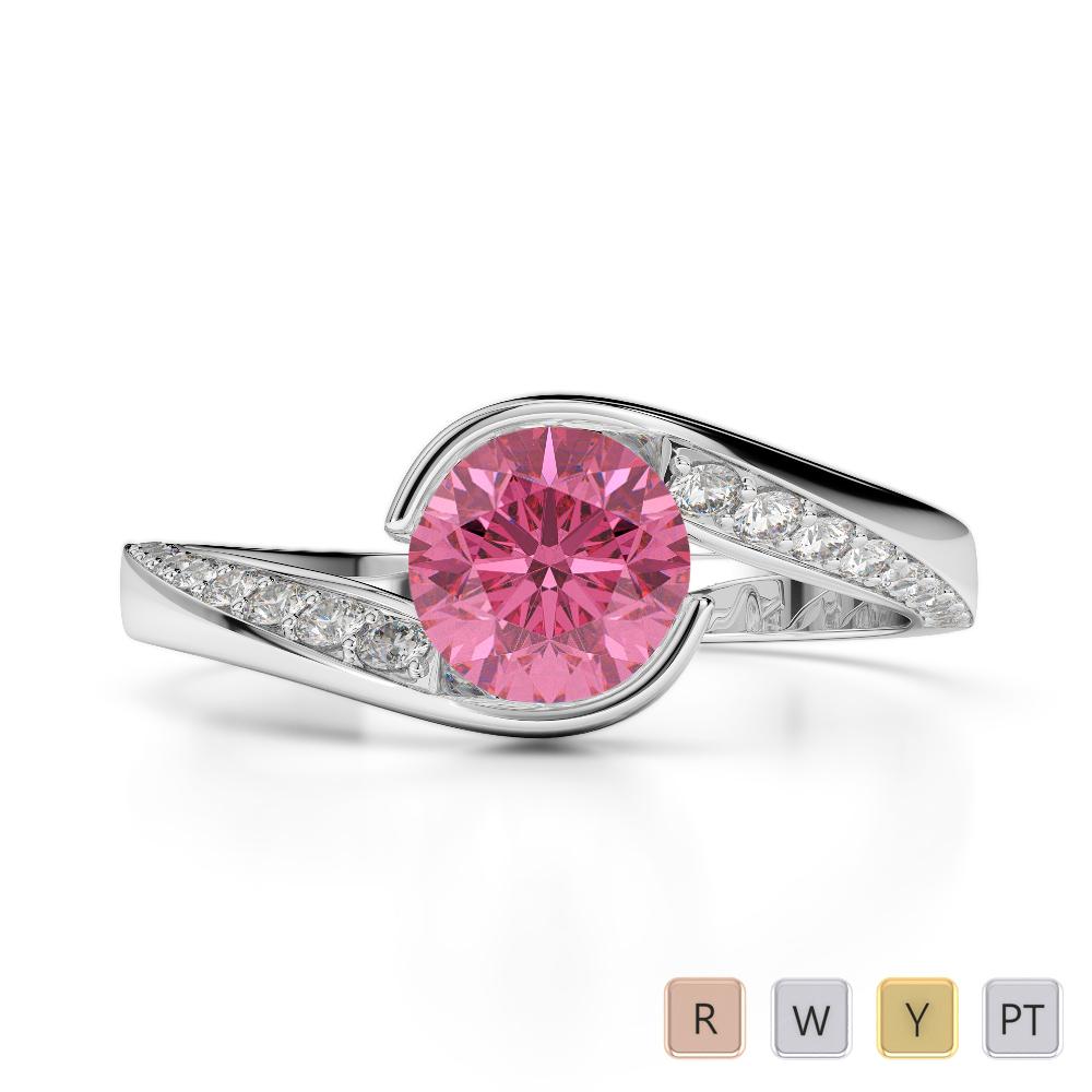Gold / Platinum Round Cut Pink Tourmaline and Diamond Engagement Ring AGDR-2020