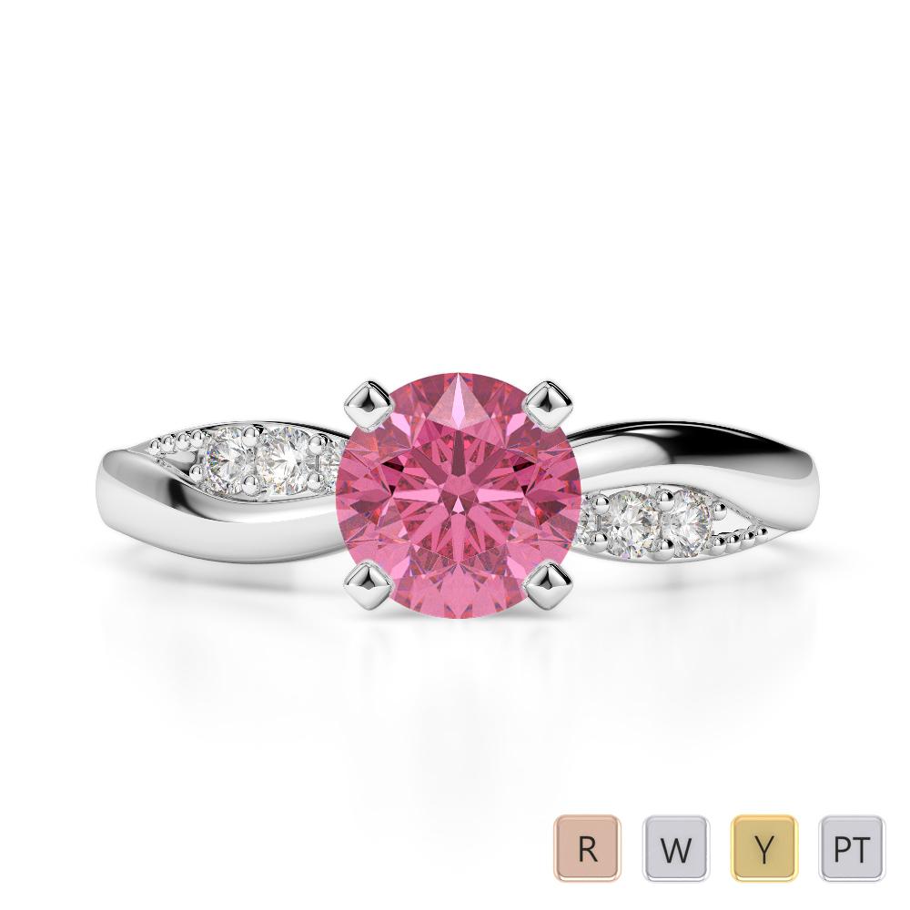 Gold / Platinum Round Cut Pink Tourmaline and Diamond Engagement Ring AGDR-2024