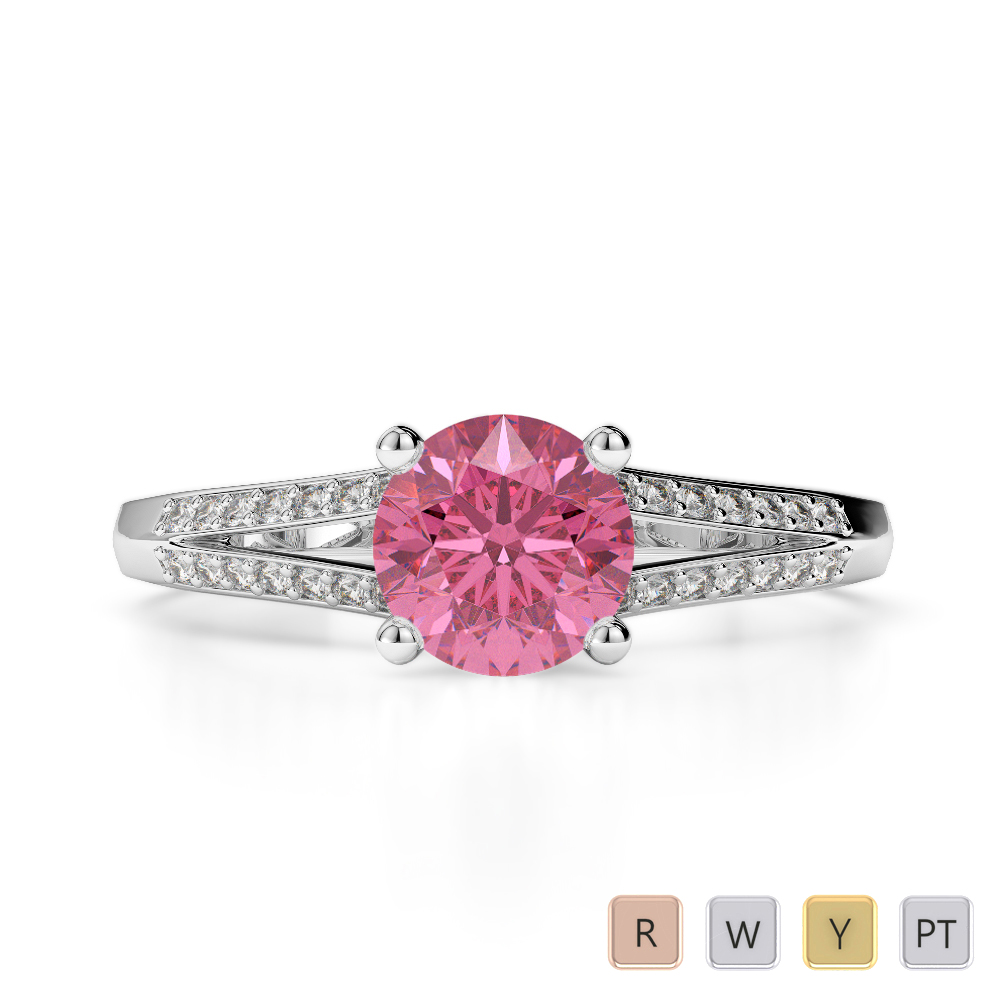 Gold / Platinum Round Cut Pink Tourmaline and Diamond Engagement Ring AGDR-2038
