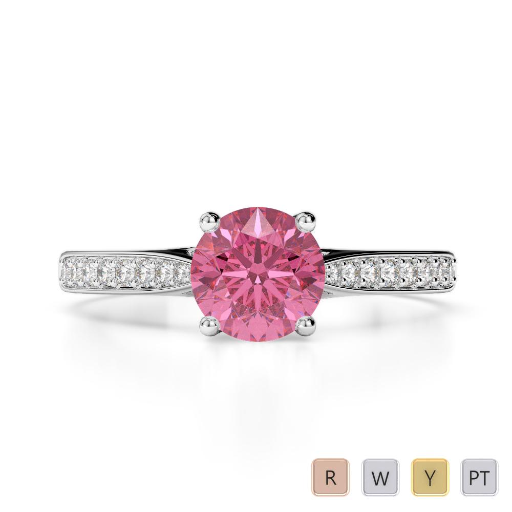 Gold / Platinum Round Cut Pink Tourmaline and Diamond Engagement Ring AGDR-2054