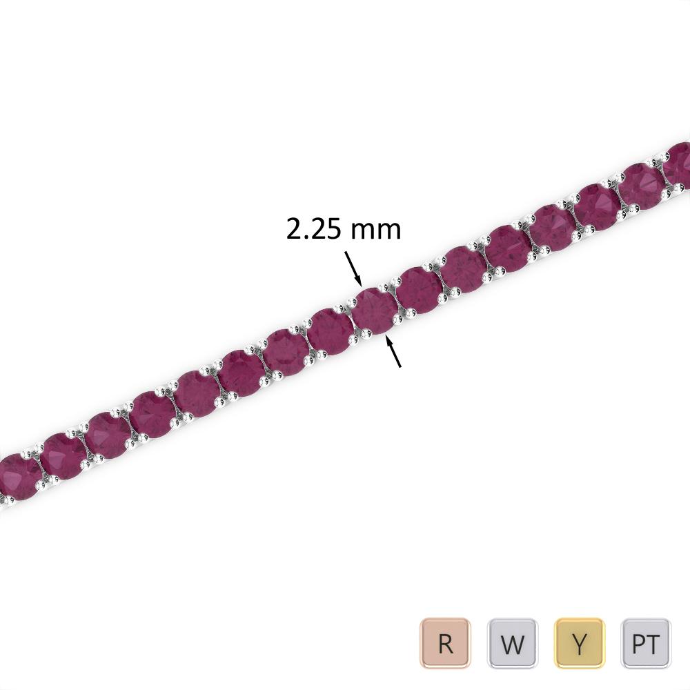 3 Ct Ruby Bracelet in Gold/Platinum AGBRL-1004