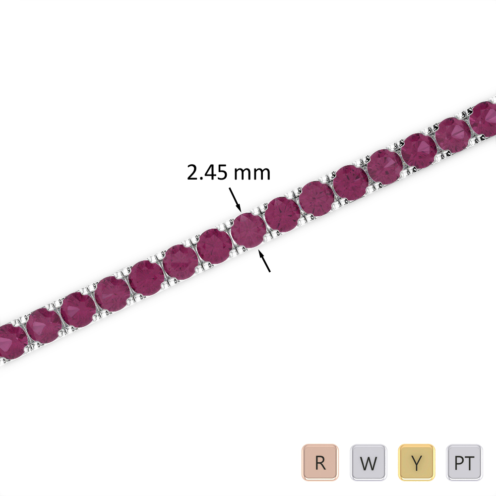 4 Ct Ruby Bracelet in Gold/Platinum AGBRL-1016