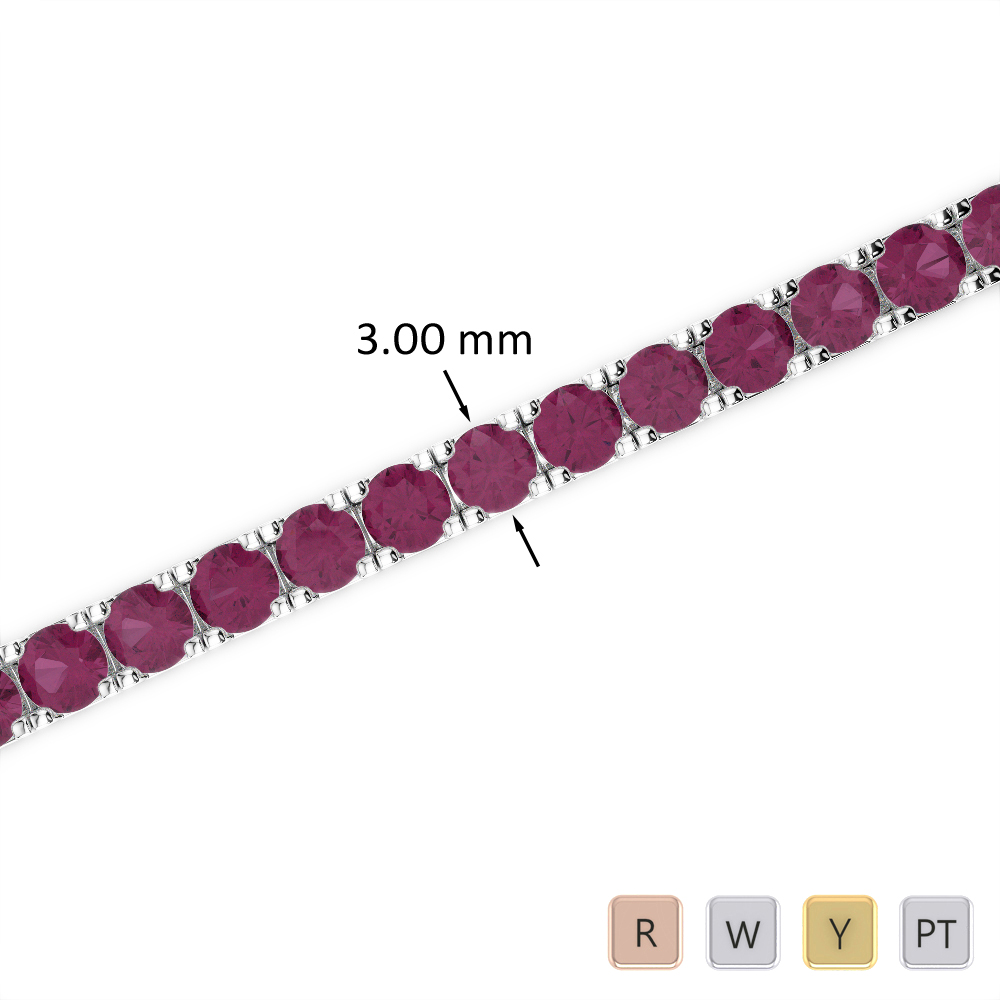 7 Ct Ruby Bracelet in Gold/Platinum AGBRL-1019