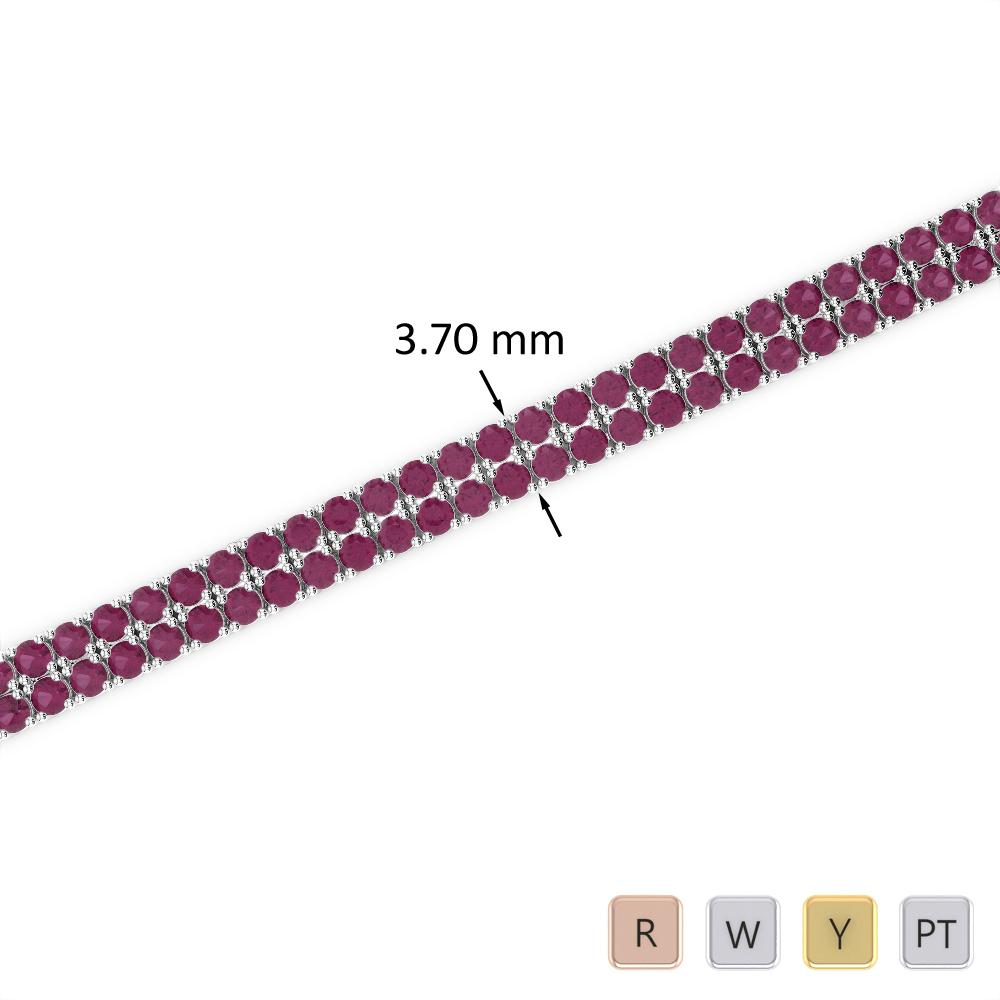 4 Ct Ruby Bracelet in Gold/Platinum AGBRL-1031