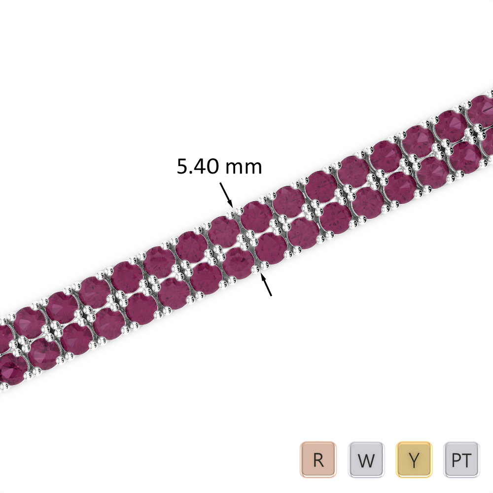 11 Ct Ruby Bracelet in Gold/Platinum AGBRL-1035
