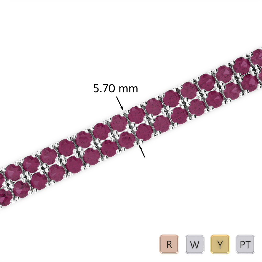 13 Ct Ruby Bracelet in Gold/Platinum AGBRL-1036