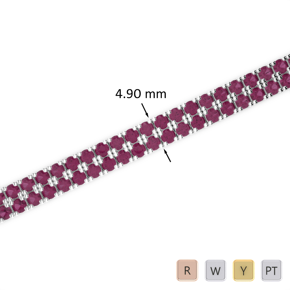 6 Ct Ruby Bracelet in Gold/Platinum AGBRL-1044