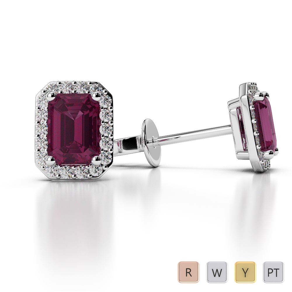 Emerald Shape Ruby and Diamond Earrings in Gold / Platinum AGER-1062