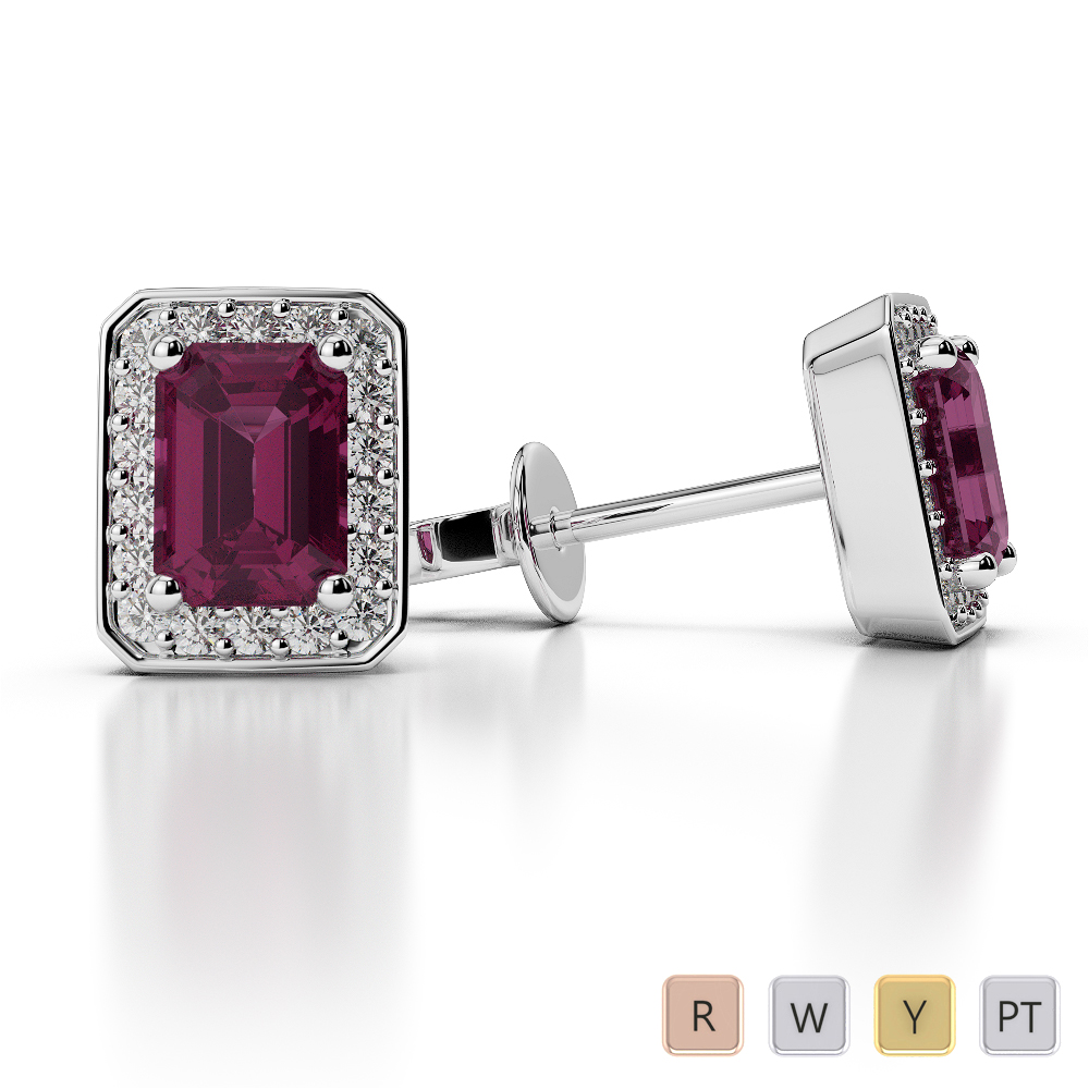 Emerald Shape Ruby and Diamond Earrings in Gold / Platinum AGER-1063