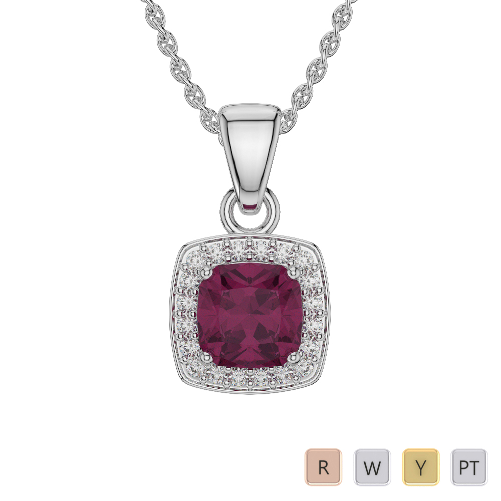Cushion Shape Ruby and Diamond Necklaces in Gold / Platinum AGDNC-1061