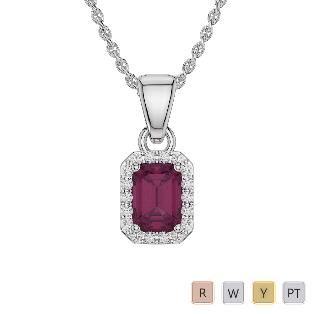 Emerald Shape Ruby and Diamond Necklaces in Gold / Platinum AGDNC-1062
