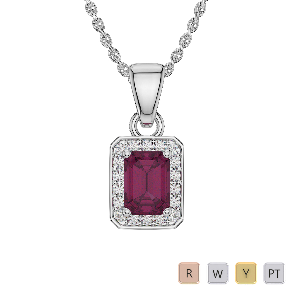 Emerald Shape Ruby and Diamond Necklaces in Gold / Platinum AGDNC-1063