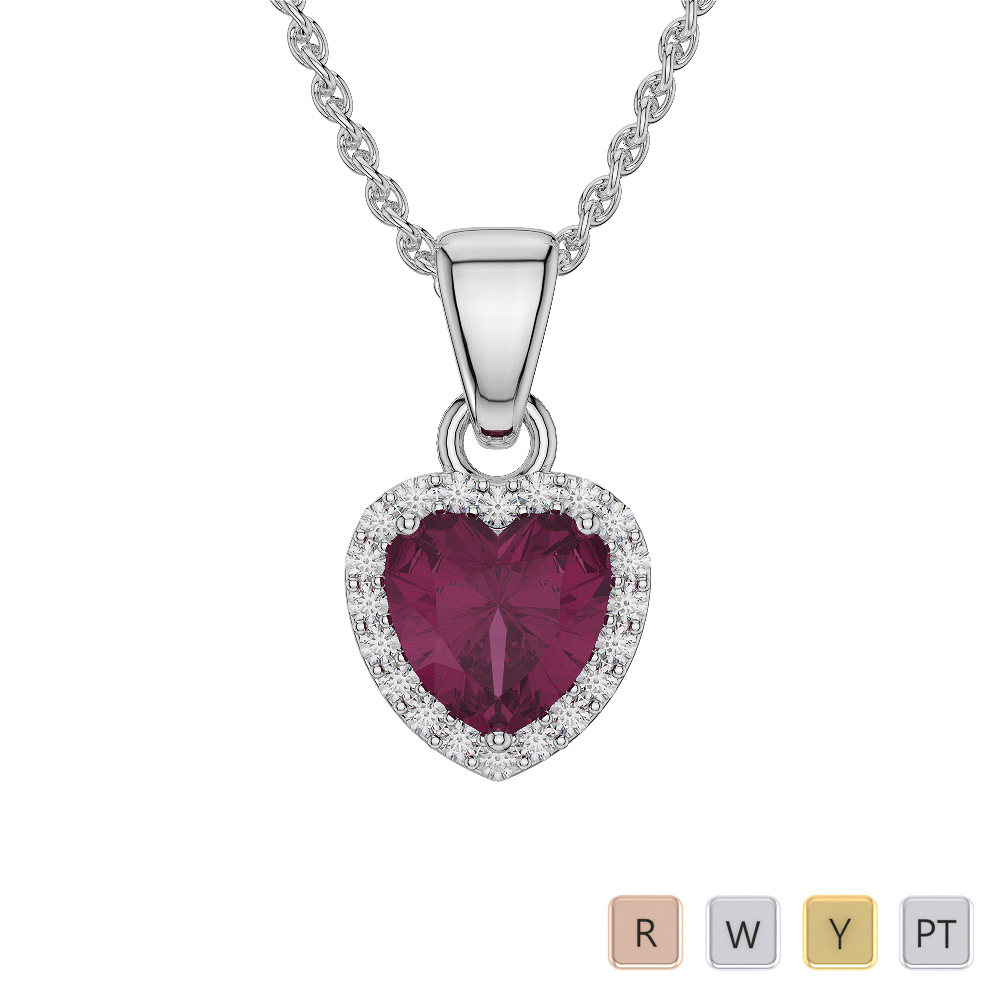 Heart Shape Ruby and Diamond Necklaces in Gold / Platinum AGDNC-1064