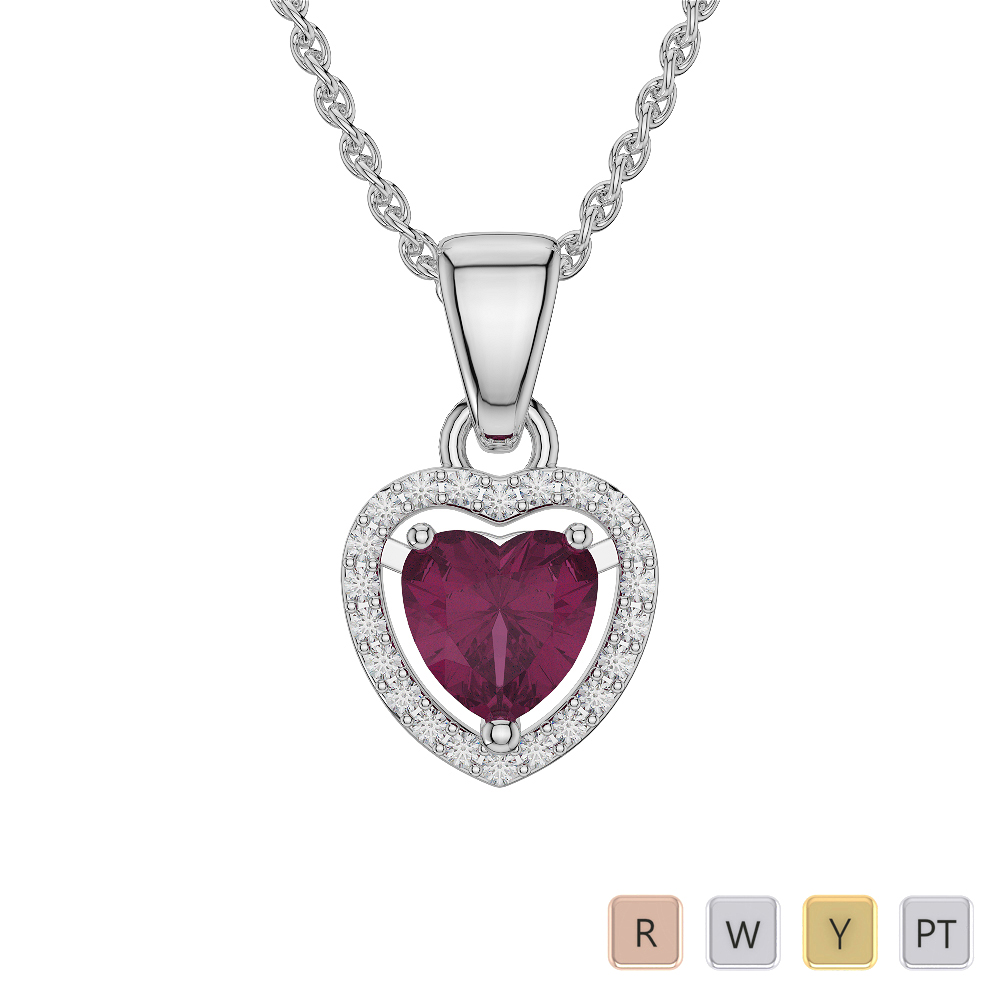 Heart Shape Ruby and Diamond Necklaces in Gold / Platinum AGDNC-1066