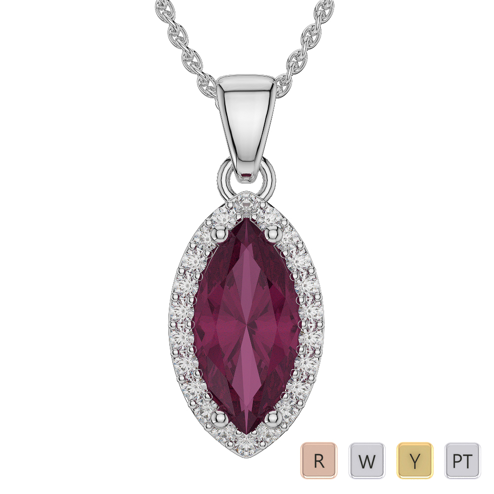 Marquise Shape Ruby and Diamond Necklaces in Gold / Platinum AGDNC-1067