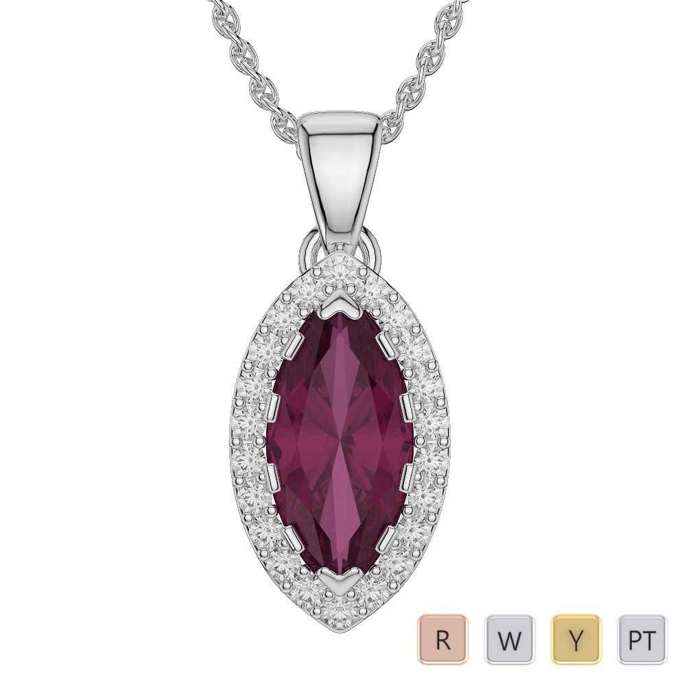 Marquise Shape Ruby and Diamond Necklaces in Gold / Platinum AGDNC-1068