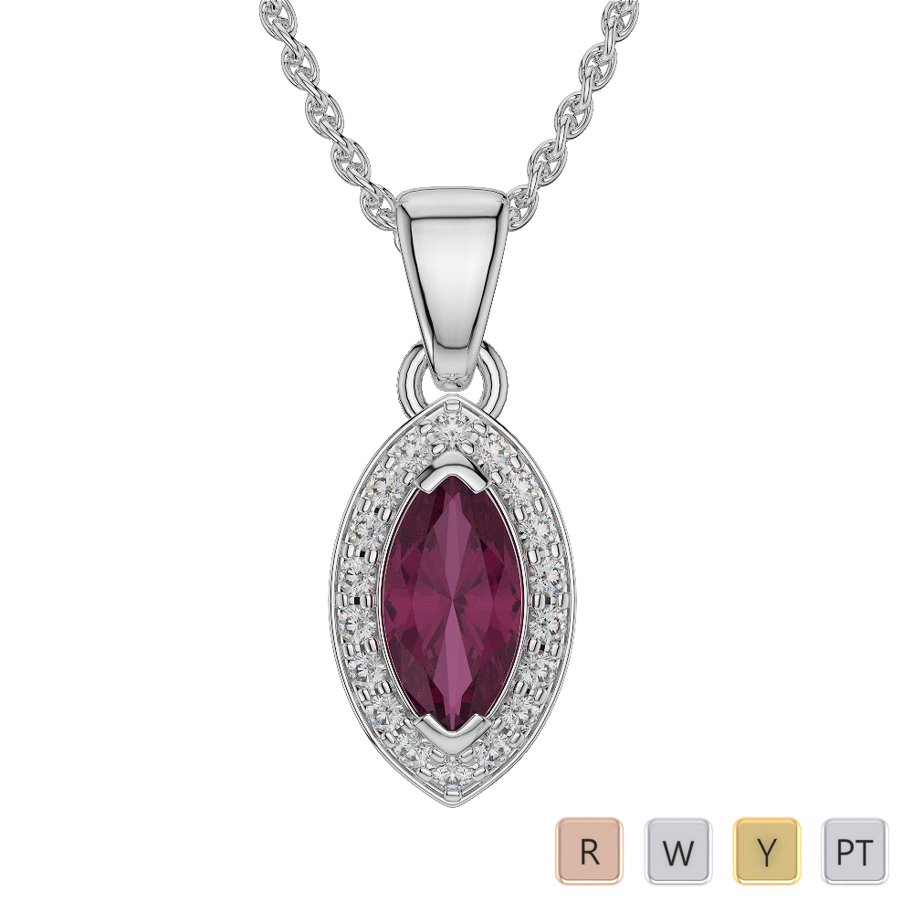 Marquise Shape Ruby and Diamond Necklaces in Gold / Platinum AGDNC-1069