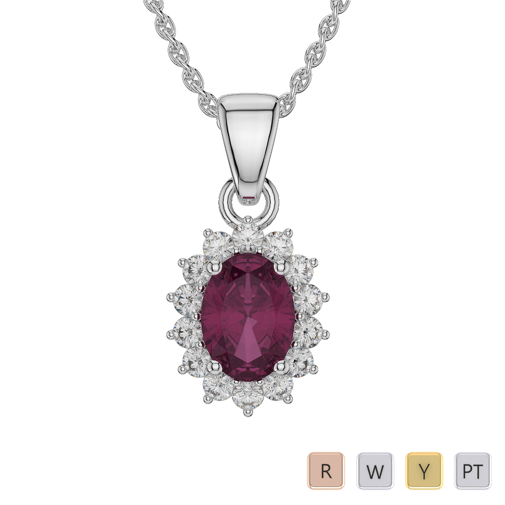 Oval Shape Ruby and Diamond Necklaces in Gold / Platinum AGDNC-1071