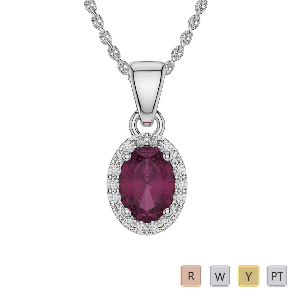 Oval Shape Ruby and Diamond Necklaces in Gold / Platinum AGDNC-1072