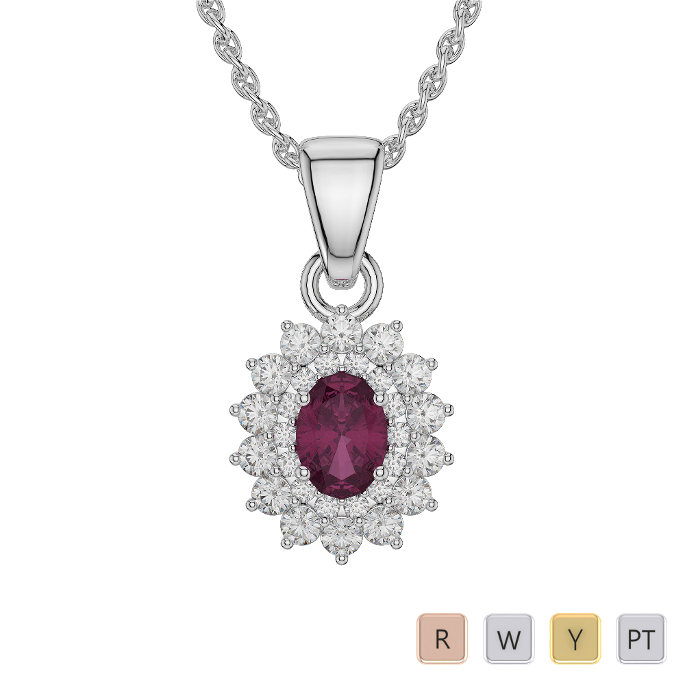 Oval Shape Ruby and Diamond Necklaces in Gold / Platinum AGDNC-1073