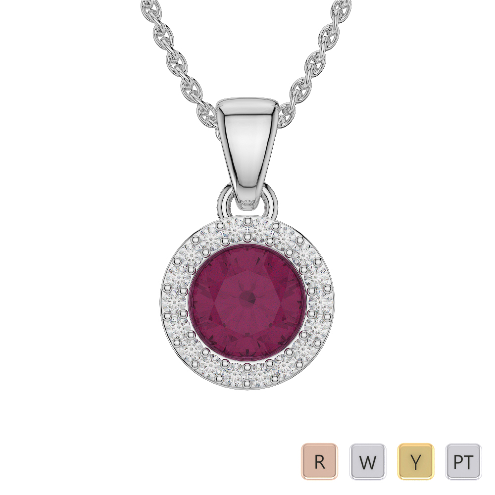 Round Shape Ruby and Diamond Necklaces in Gold / Platinum AGDNC-1075