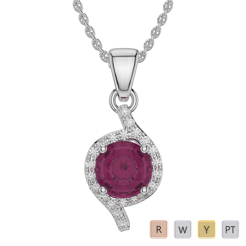Round Shape Ruby and Diamond Necklaces in Gold / Platinum AGDNC-1076