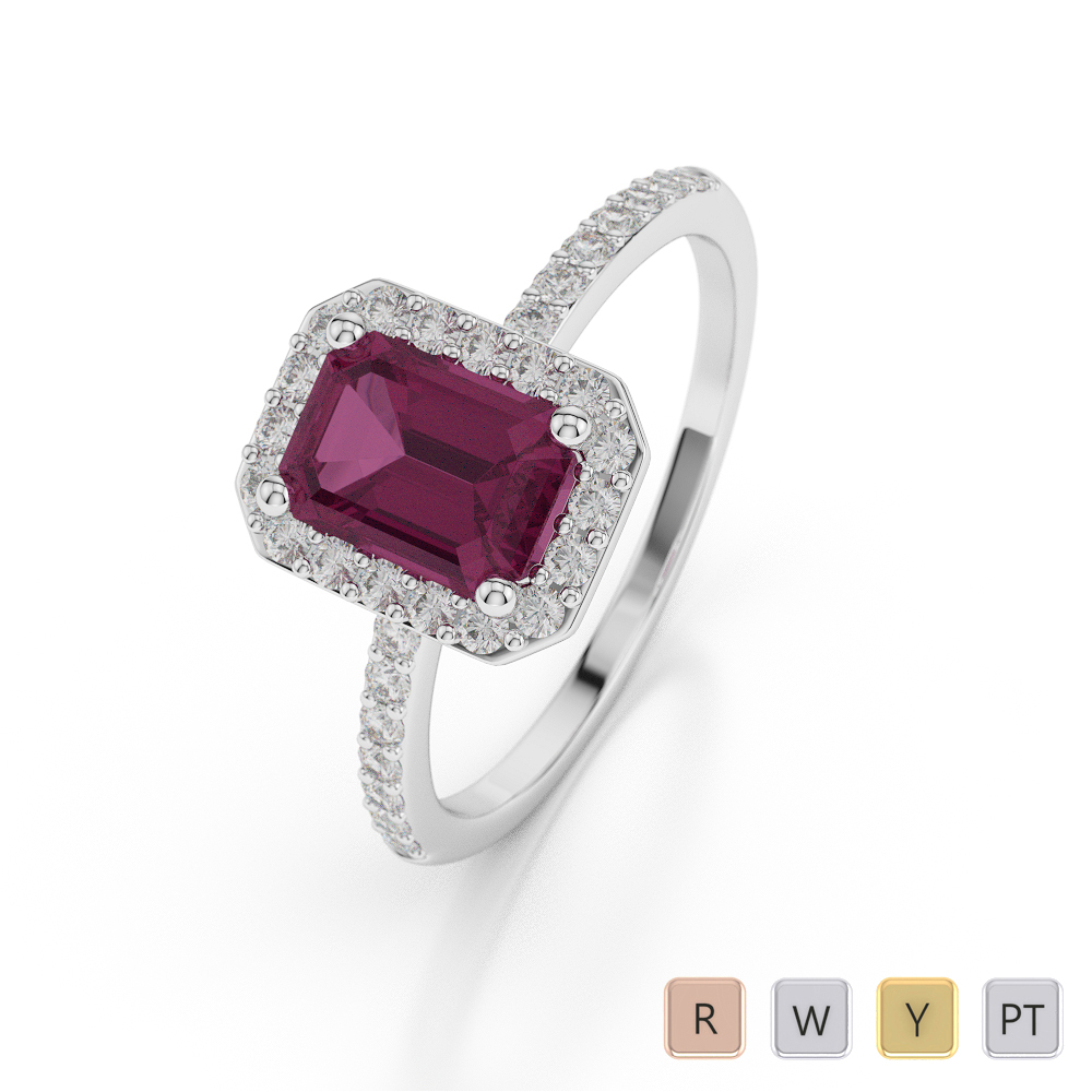 Gold / Platinum Emerald Shape Ruby and Diamond Ring AGDR-1062