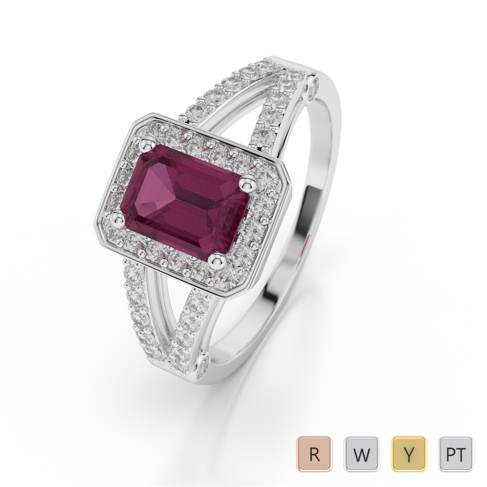 Gold / Platinum Emerald Shape Ruby and Diamond Ring AGDR-1063