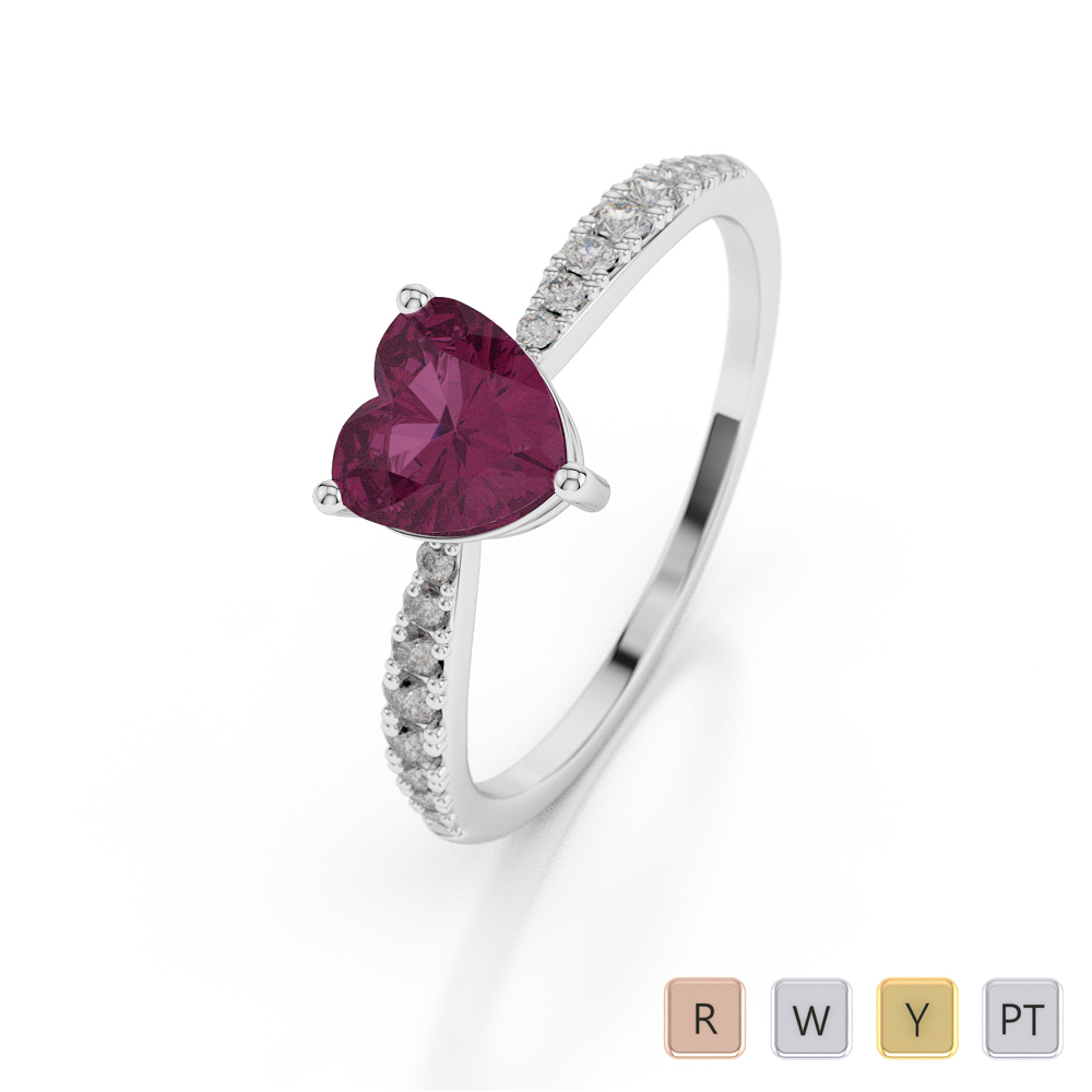 Gold / Platinum Heart Shape Ruby and Diamond Ring AGDR-1064