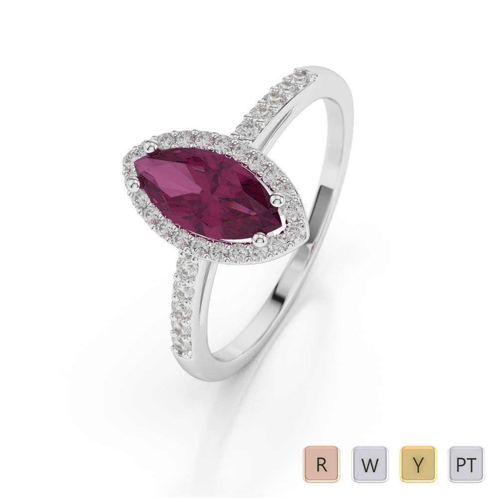 Gold / Platinum Marquise Shape Ruby and Diamond Ring AGDR-1067
