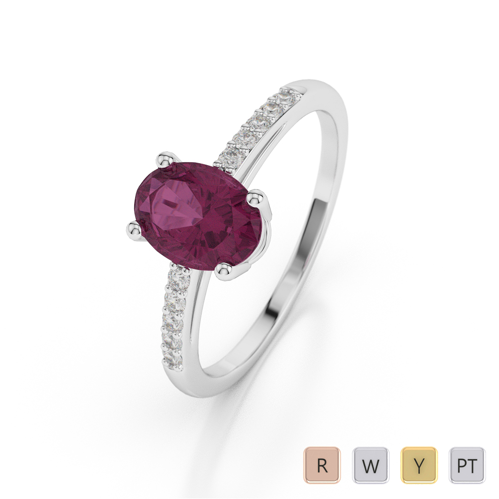 Gold / Platinum Oval Shape Ruby and Diamond Ring AGDR-1070