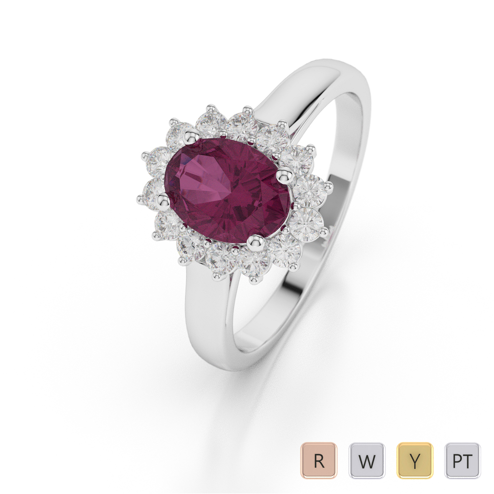 Gold / Platinum Oval Shape Ruby and Diamond Ring AGDR-1071