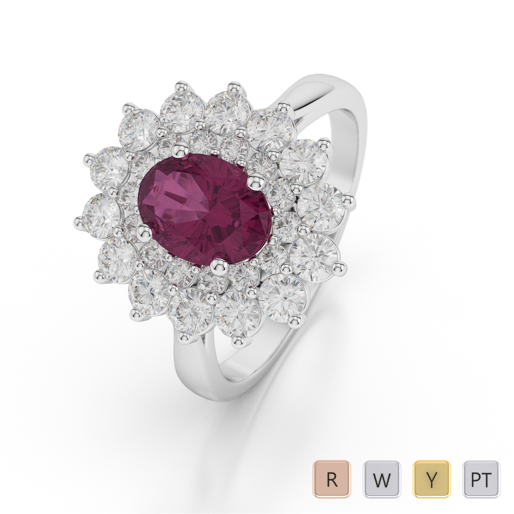 Gold / Platinum Oval Shape Ruby and Diamond Ring AGDR-1073
