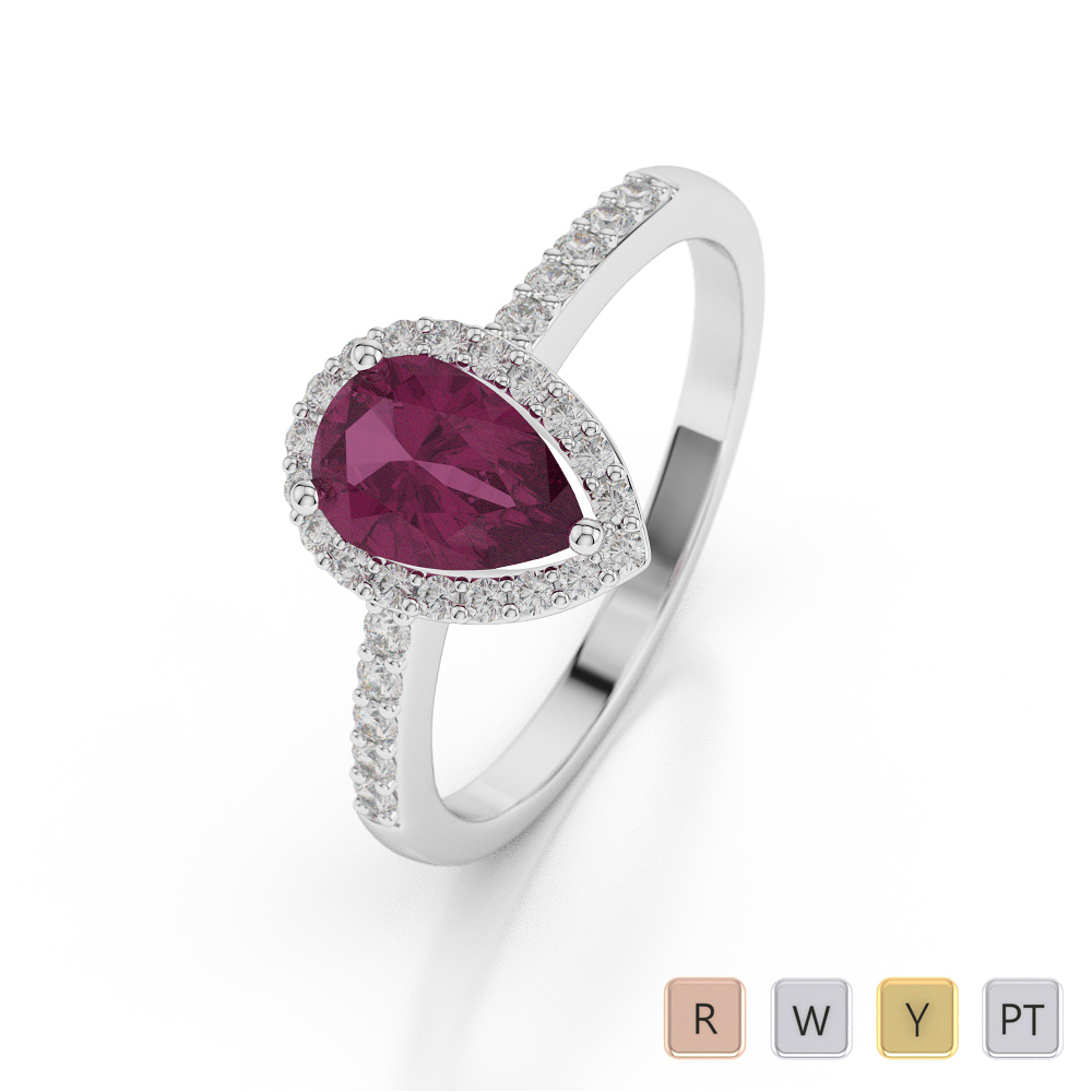 Gold / Platinum Pear Shape Ruby and Diamond Ring AGDR-1074