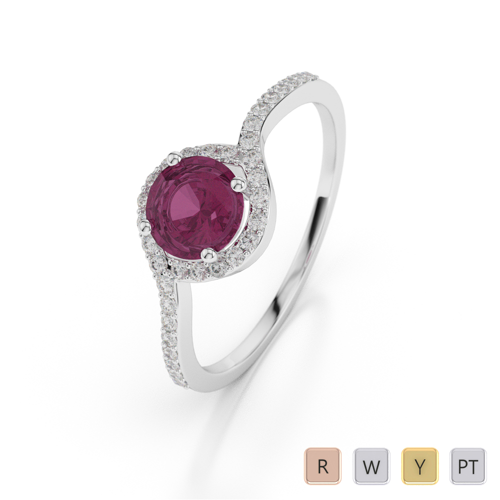 Gold / Platinum Round Shape Ruby and Diamond Ring AGDR-1076