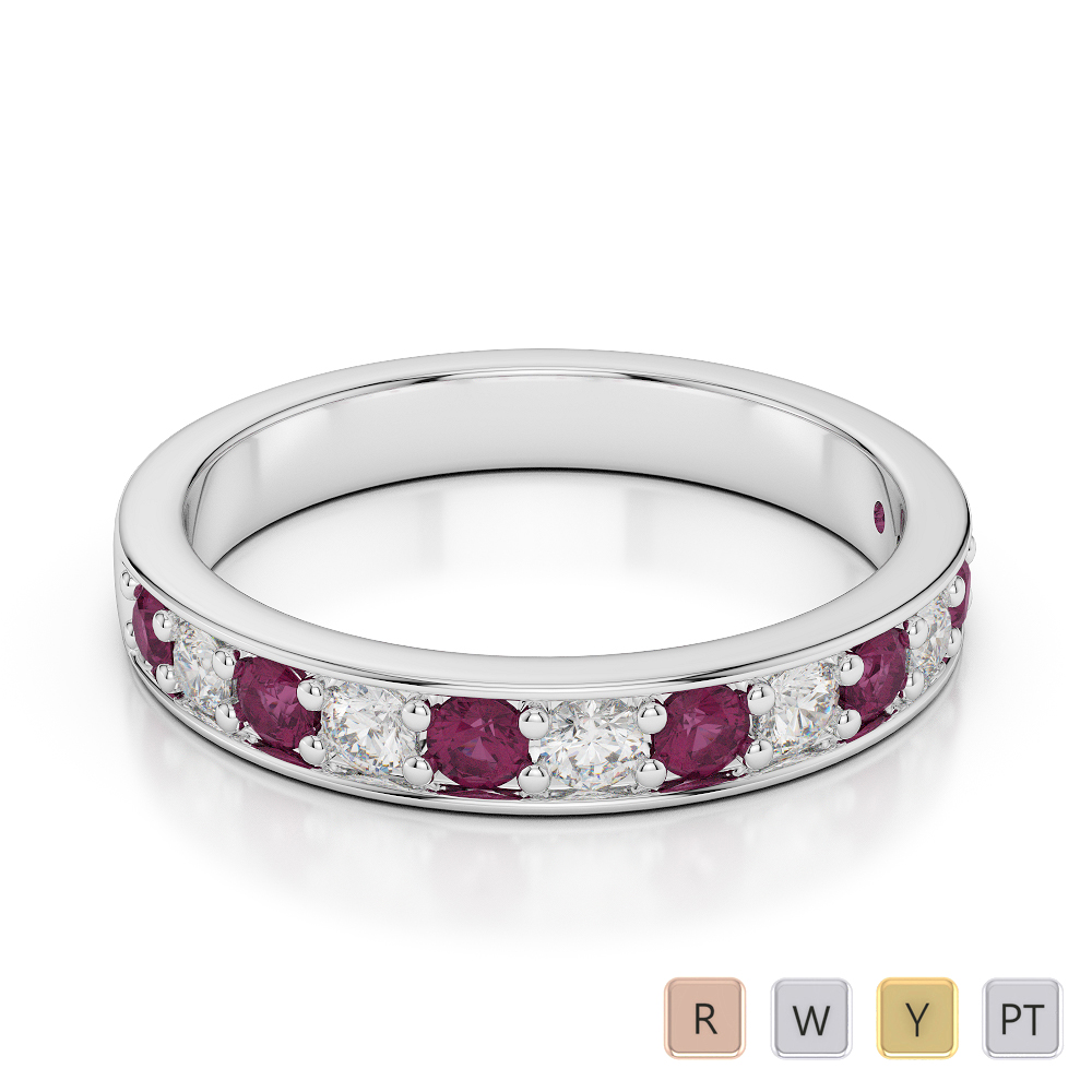 3 MM Gold / Platinum Round Cut Ruby and Diamond Half Eternity Ring AGDR-1084
