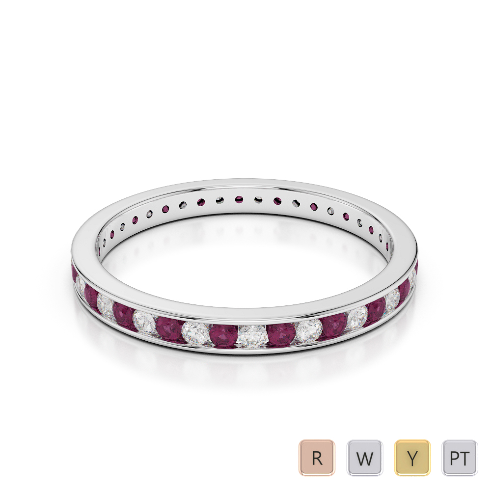 2.5 MM Gold / Platinum Round Cut Ruby and Diamond Full Eternity Ring AGDR-1086