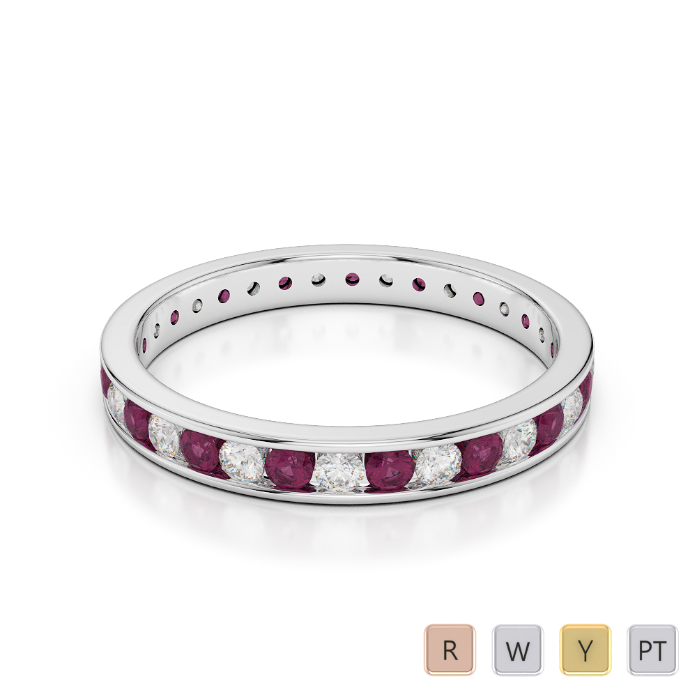3 MM Gold / Platinum Round Cut Ruby and Diamond Full Eternity Ring AGDR-1087