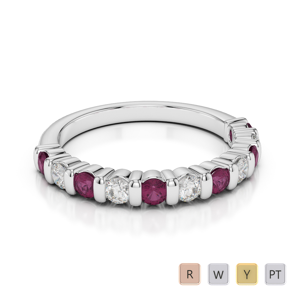 2.5 MM Gold / Platinum Round Cut Ruby and Diamond Half Eternity Ring AGDR-1096