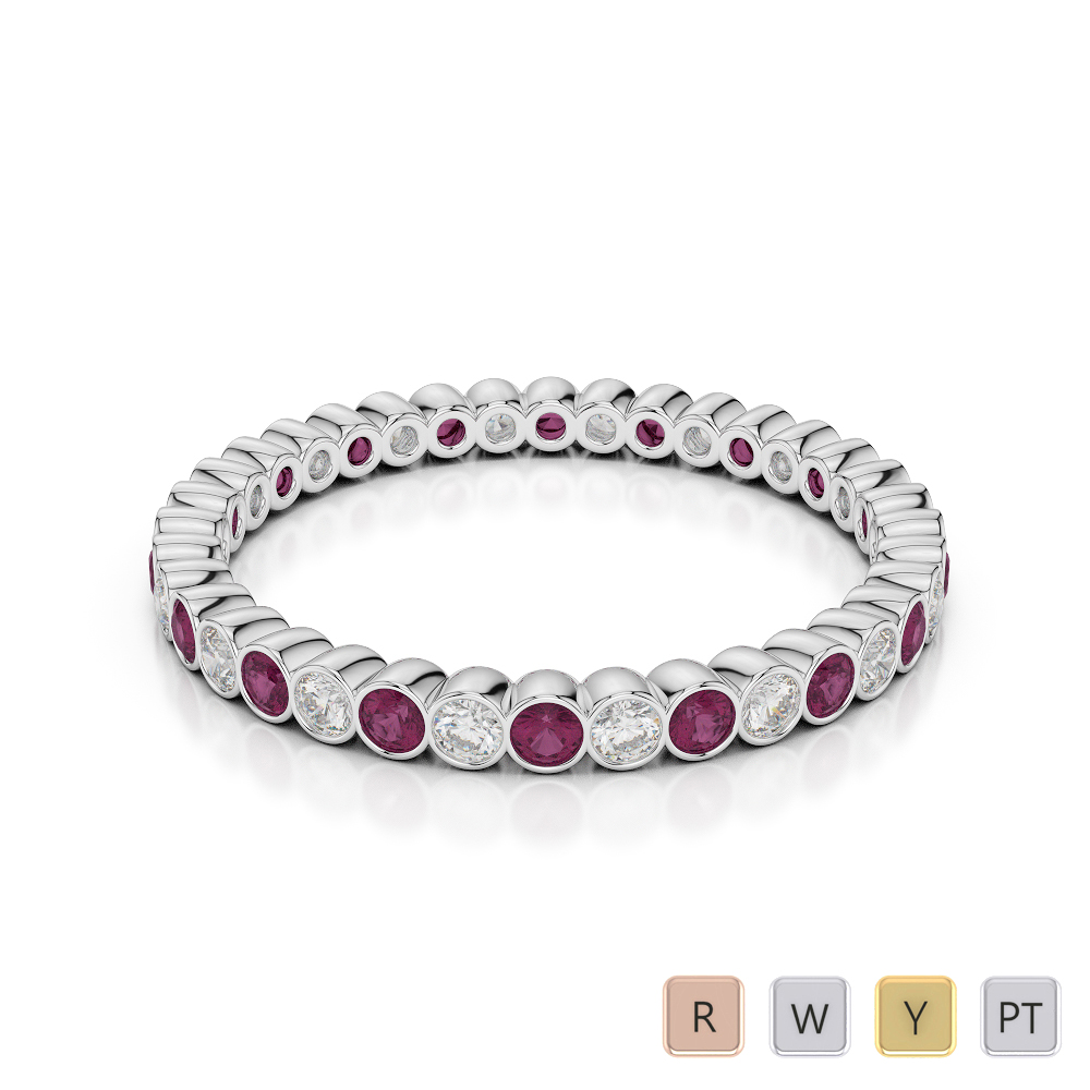 2 MM Gold / Platinum Round Cut Ruby and Diamond Full Eternity Ring AGDR-1098