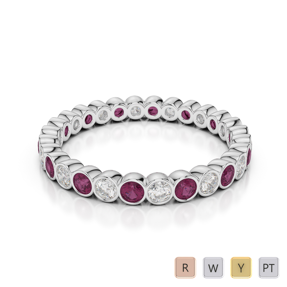 2.5 MM Gold / Platinum Round Cut Ruby and Diamond Full Eternity Ring AGDR-1099