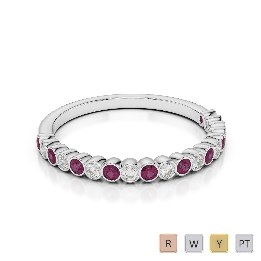2 MM Gold / Platinum Round Cut Ruby and Diamond Half Eternity Ring AGDR-1101