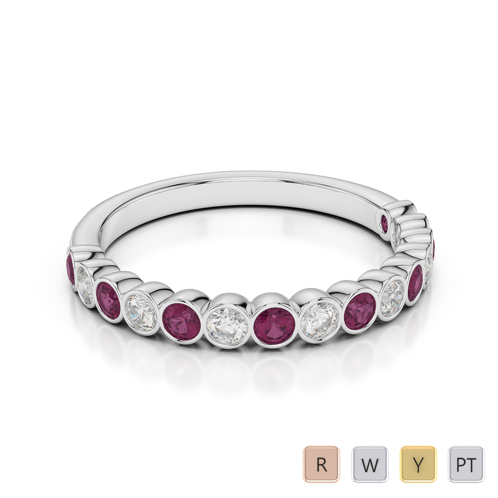 2.5 MM Gold / Platinum Round Cut Ruby and Diamond Half Eternity Ring AGDR-1102