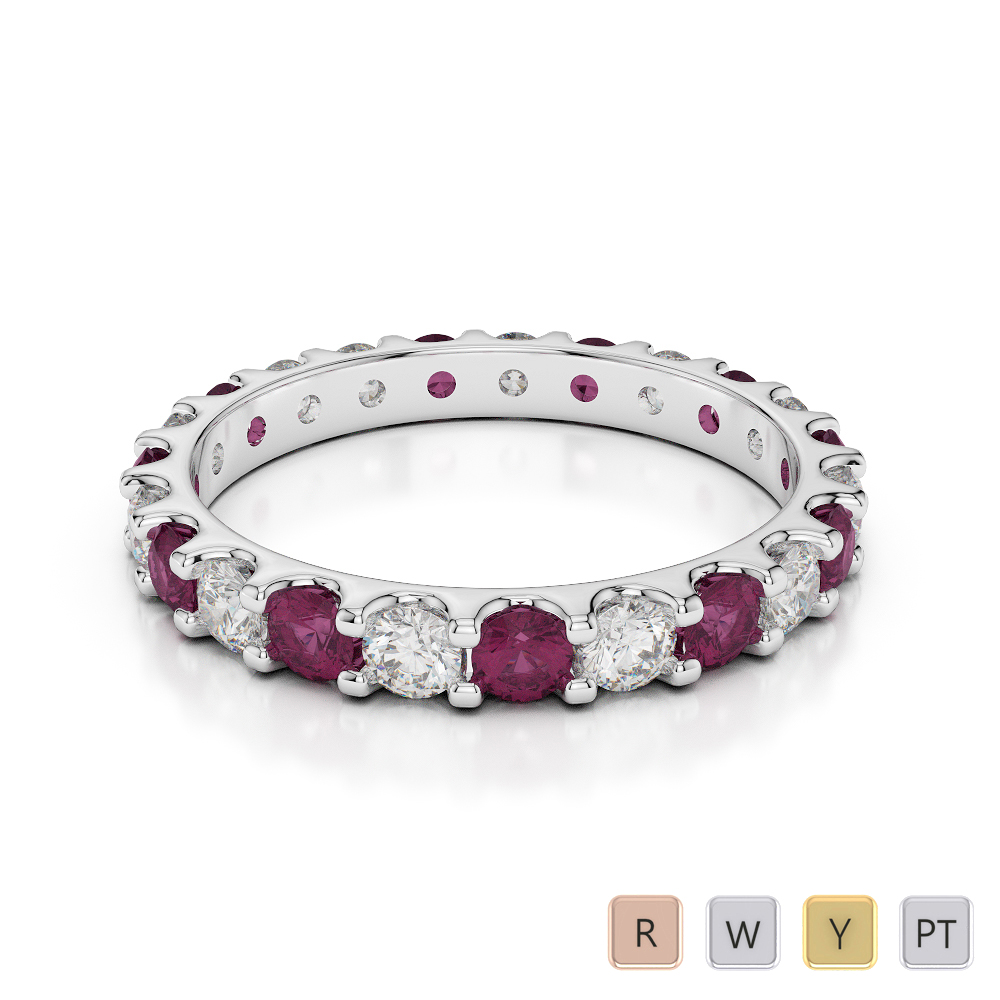 2.5 MM Gold / Platinum Round Cut Ruby and Diamond Full Eternity Ring AGDR-1105