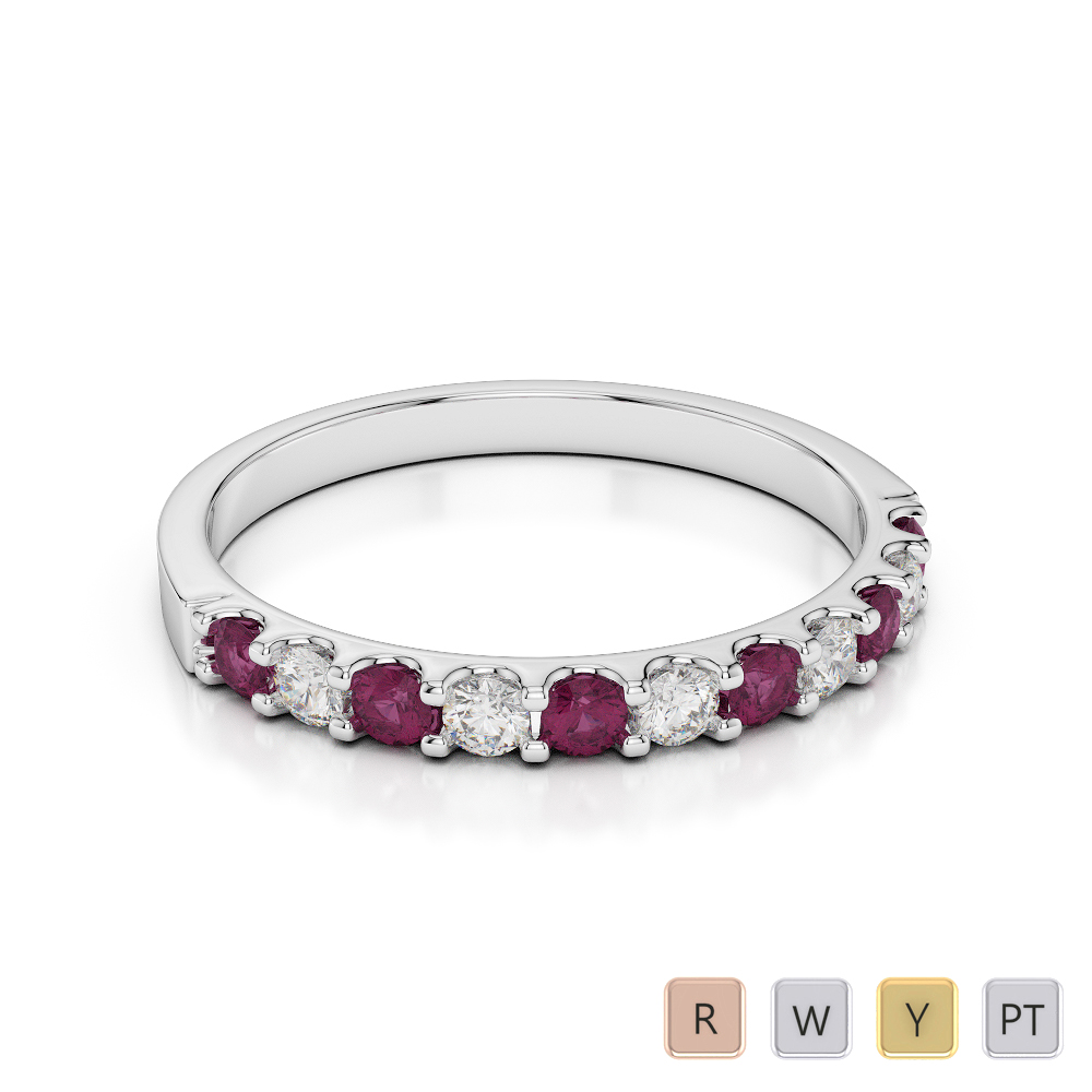 2 MM Gold / Platinum Round Cut Ruby and Diamond Half Eternity Ring AGDR-1107