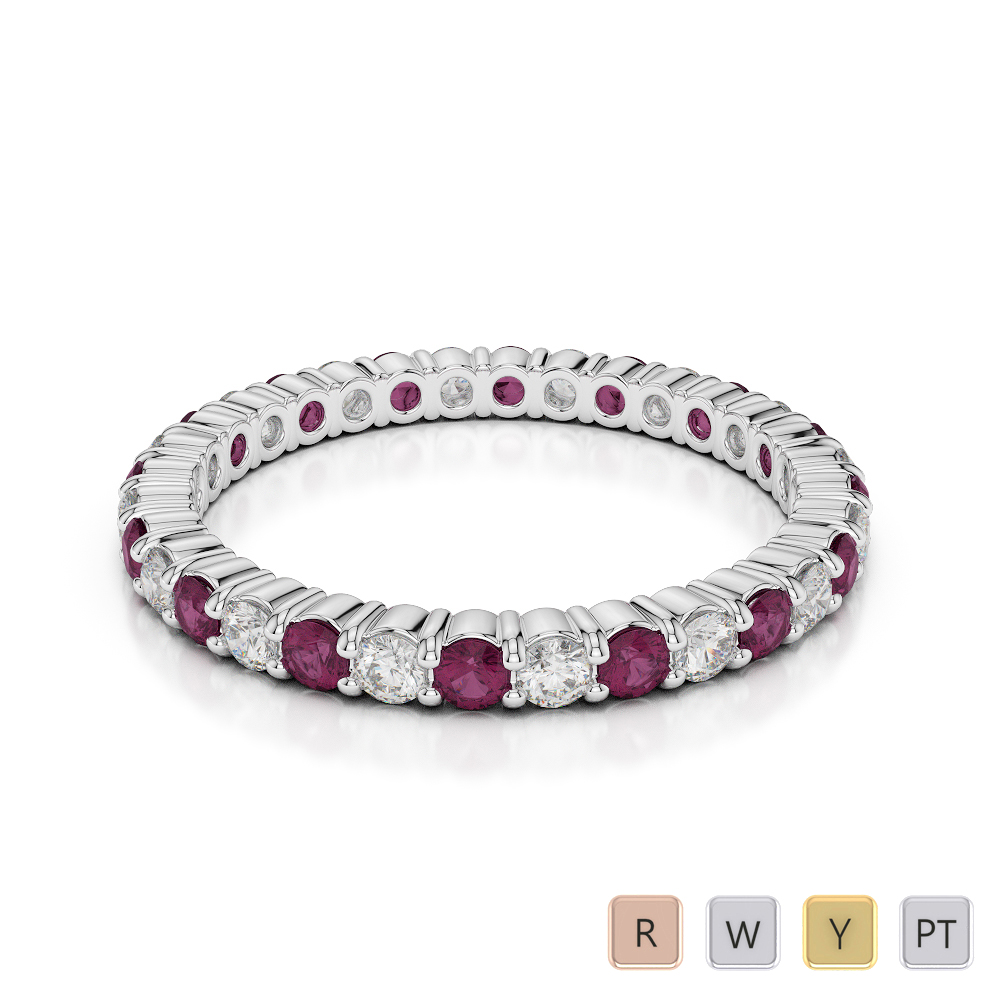 Gold / Platinum Round Cut Ruby and Diamond Full Eternity Ring AGDR-1110