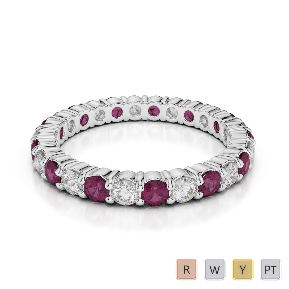 2.5 MM Gold / Platinum Round Cut Ruby and Diamond Full Eternity Ring AGDR-1111
