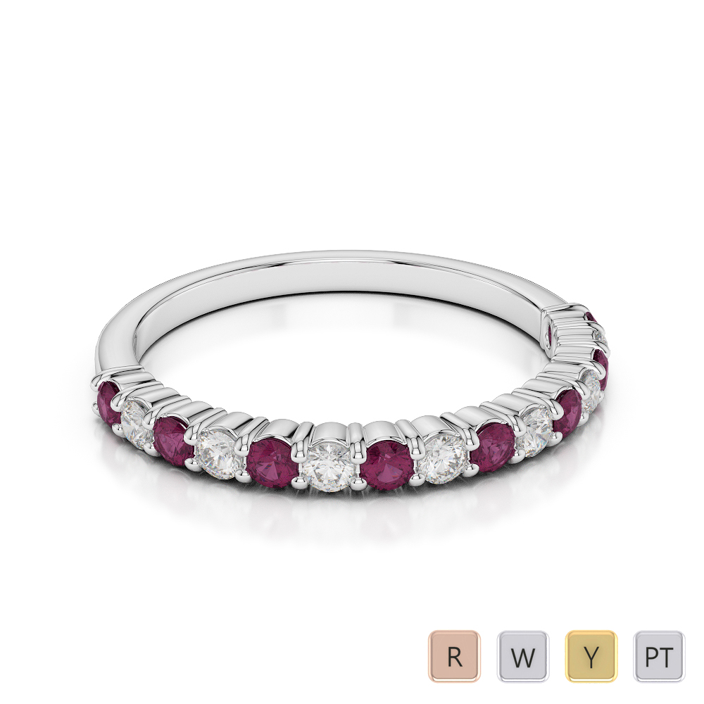 2 MM Gold / Platinum Round Cut Ruby and Diamond Half Eternity Ring AGDR-1113