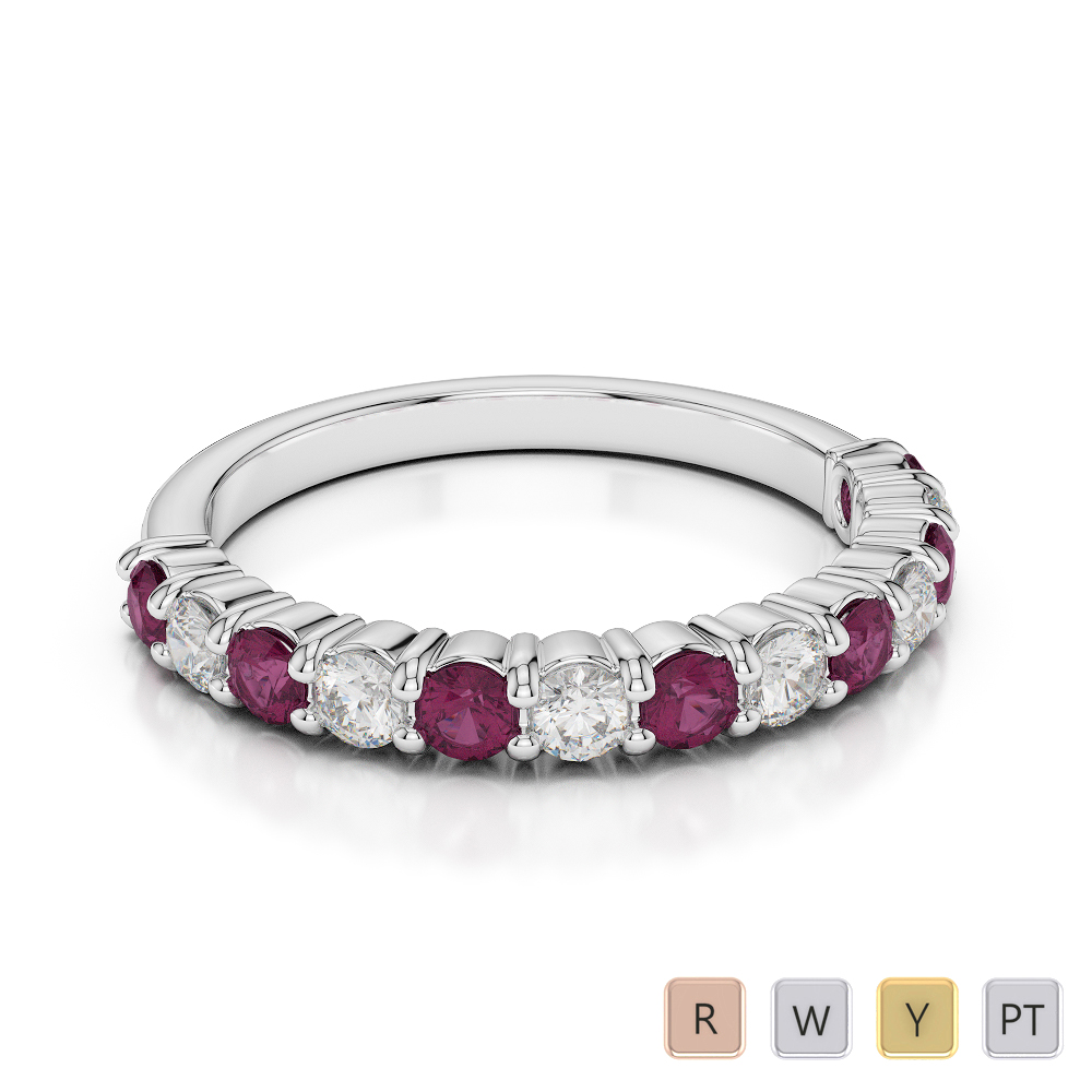 Gold / Platinum Round Cut Ruby and Diamond Half Eternity Ring AGDR-1114
